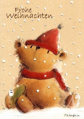 """Postkarte """"Frohe Weihnachten (Bär mit Frosch)"""""""
