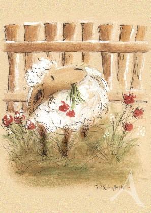 """Postkarte """"Schaf mit Blumen"""""""