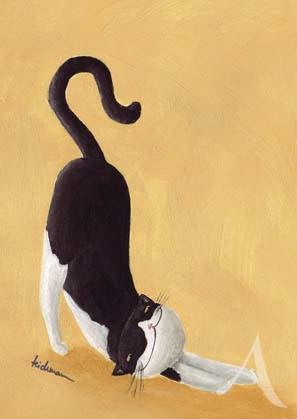 """Postkarte """"Happy Cat schwarz-weiß"""""""