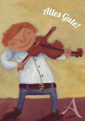 "Postkarte ""Alles Gute! (Geigenspieler)"""