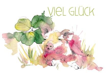 """Postkarte """"Viel Glück"""""""