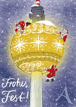 "Postkarte ""Frohes Fest !"" (Berlin / Fernstehturm)"