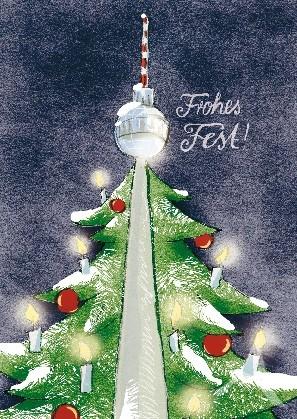 "Berlin- Postkarte ""Frohes Fest!"" (Fernsehturm 2)"