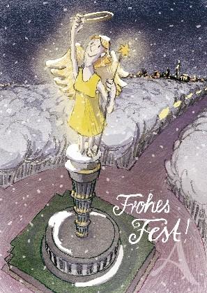"""Berlin- Postkarte """"Frohes Fest!"""" (Siegessäule)"""