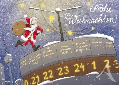 """Berlin- Postkarte """"Frohe Weihnachten!"""" (Weltzeituhr)"""