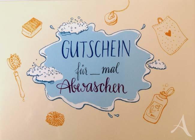 """Postkarte """"GUTSCHEIN für x mal Abwaschen"""""""