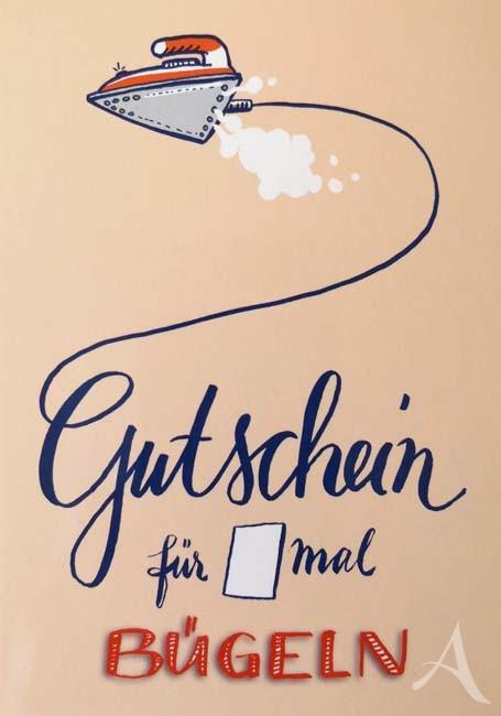 """Postkarte """"GUTSCHEIN für X mal Bügeln"""""""