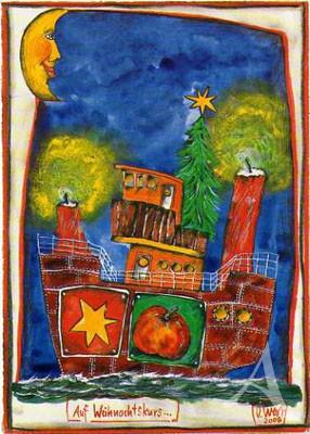 """Postkarte """"Auf Weihnachtskurs"""""""