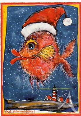 """Postkarte """"Guck, die Weihnachtsflosse"""""""