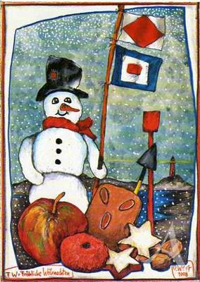 """Postkarte """"FW = Fröhliche Weihnachten"""""""