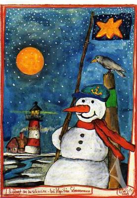 """Postkarte """"Es fängt an zu schneien..."""""""