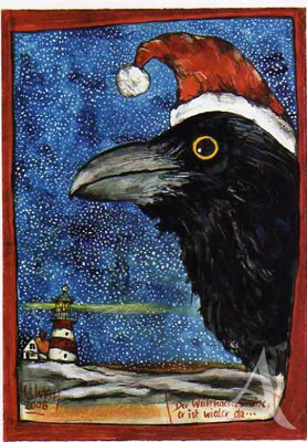 """Postkarte """"Der Weihnachtsrabe"""""""