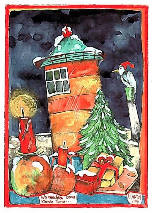 """Postkarte """"Weihnachten beim kleinen Turm"""""""