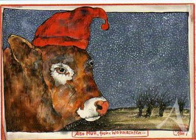 """Postkarte """"Also MUH, Frohe Weichnachten"""""""