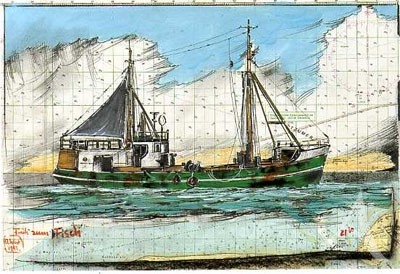 "Postkarte ""Früh zum Fisch"""