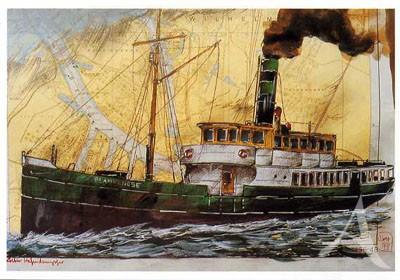 "Postkarte ""Alter Hafendampfer"""