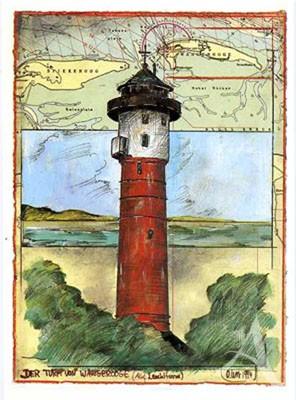 """Postkarte """"Der Turm von Wangerooge"""""""