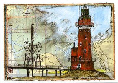 """Postkarte """"Leuchtturm Hohe Weg"""""""