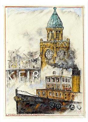 "Postkarte ""Landungsbrücken, Hamburg"""
