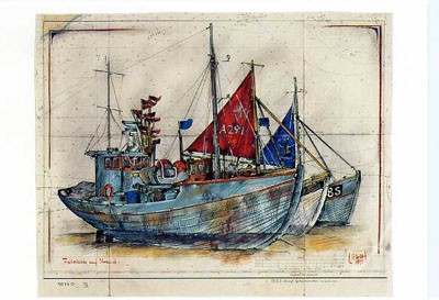 """Postkarte """"Fischerboote auf dem Strand"""""""