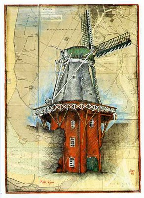 """Postkarte """"Mühle - Rysum"""""""