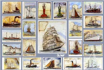 "Postkarte ""Schmuckblatt Schiffe"""