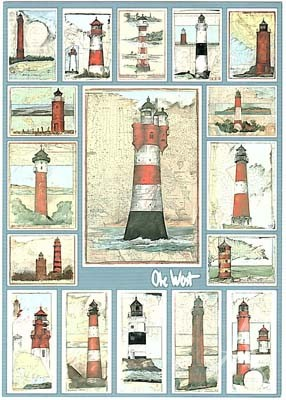 "Postkarte ""Schmuckblatt Leuchttürme"""