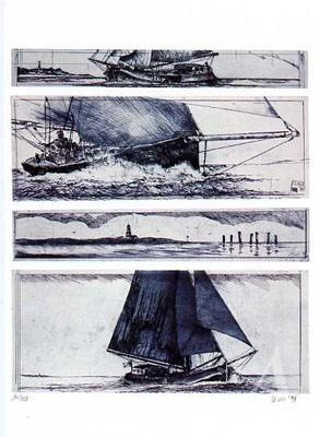 """Postkarte """"Wattensegeln (Radierung)"""""""