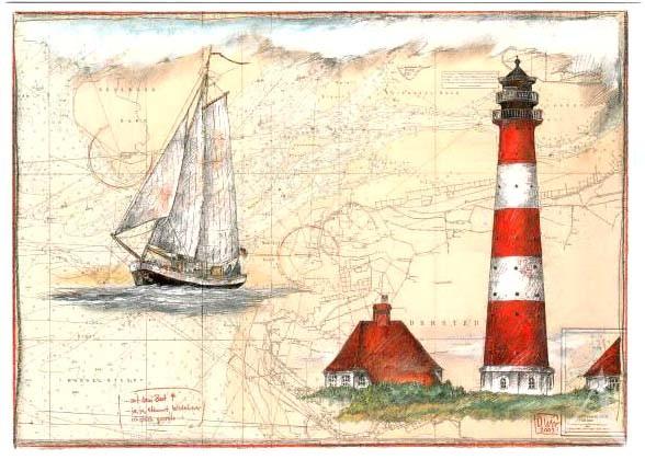 """Postkarte """"...auf dem Boot (Westerhever)"""""""
