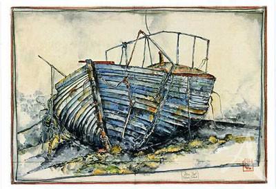 "Postkarte ""Altes Boot"""