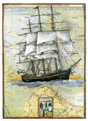 "Postkarte ""Rahsegler vor Cuxhaven"""