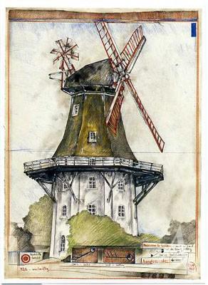 """Postkarte """"Mühle - windmäßig"""""""