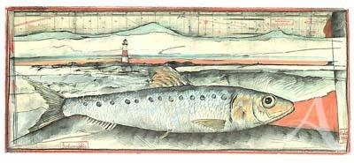 """Postkarte, """"Sardinenmäßig"""" , DIN lang"""