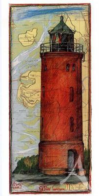 """Postkarte, """"St. Peter Leuchtturm"""" , DIN lang"""