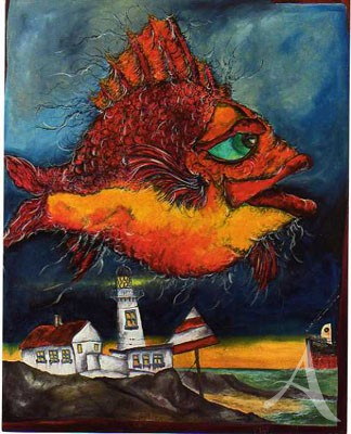 "Maxi- Postkarte, ""Leuchtfeuer bei Fisch"""