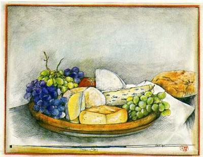 """Postkarte """"Trauben & Käse"""""""