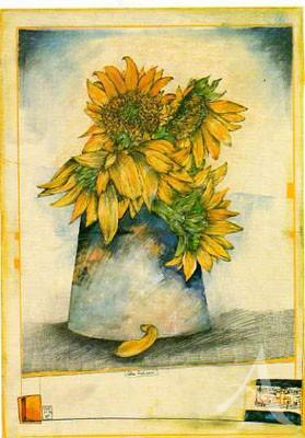 """Postkarte """"Gelbe Zeichnerei"""""""