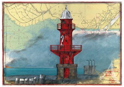 """Maxi- Postkarte, """"...es wird ungemütlich auf der Elbe - Brunsbüttel"""""""