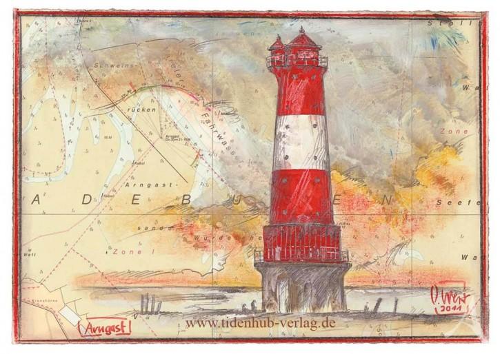 "Postkarte ""Leuchtturm Arngast"""