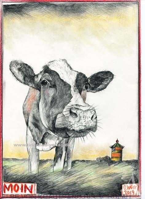 "Postkarte ""MOIN"" (Kuh, Leuchtturm Pilsum)"