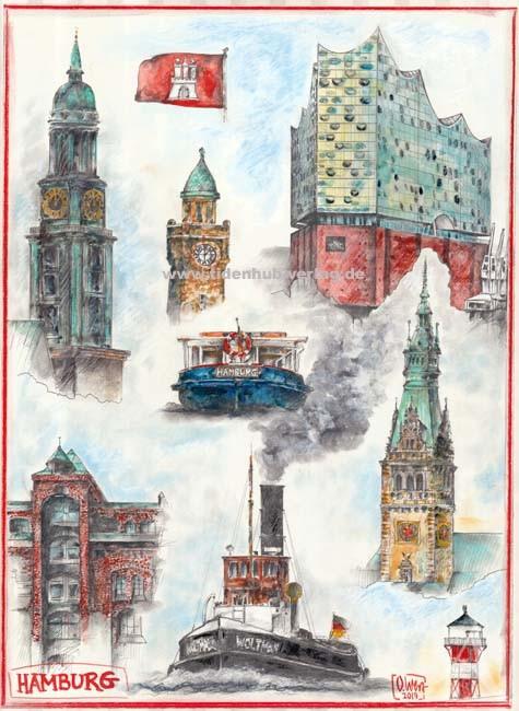 "Postkarte ""Hamburg"" (Elbphilharmonie, Michel,...)"