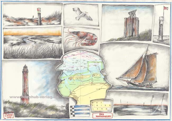 """Postkarte """"Der Norderneyer"""" (Norderney, Möwe, Segelboot)"""