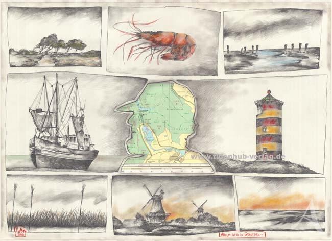 """Postkarte """"Also, es ist so in Greetsiel..."""" (Pilsum, Mühlen, Krabbenkutter)"""