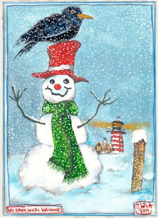"""Postkarte """"Wie schön, weiße Weihnacht"""" von OLE WEST"""