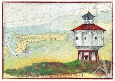 """Postkarte """"Nein, es ist kein Leuchtturm - aber..."""" von OLE WEST"""