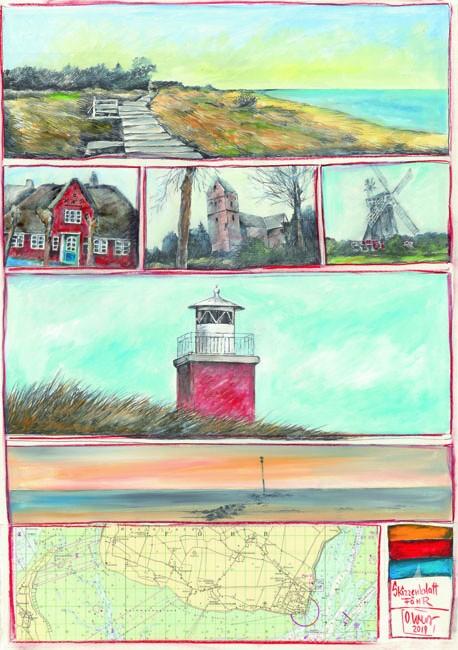 """Postkarte """"Skizzenblatt Föhr"""" von OLE WEST"""