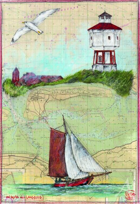 """Postkarte """"...und segelten nach Langeoog"""" von OLE WEST"""