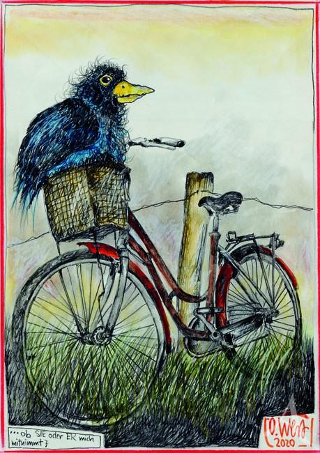 """Postkarte """"...ob Sie oder Er mich mitnimmt? (Vogel / Fahrrad)"""" von OLE WEST"""