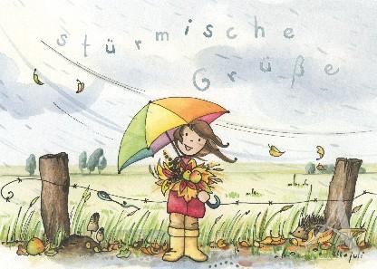 "Postkarte ""Stürmische Grüße"""