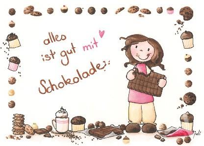 """Postkarte """"alles ist gut mit Schokolade"""""""